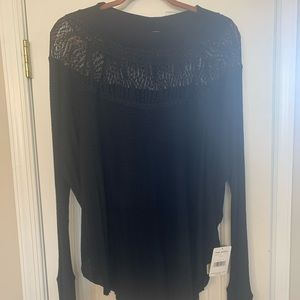 Free People Blk Thermal w lace yoke size S NWT